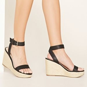 Faux Patent Leather Wedges